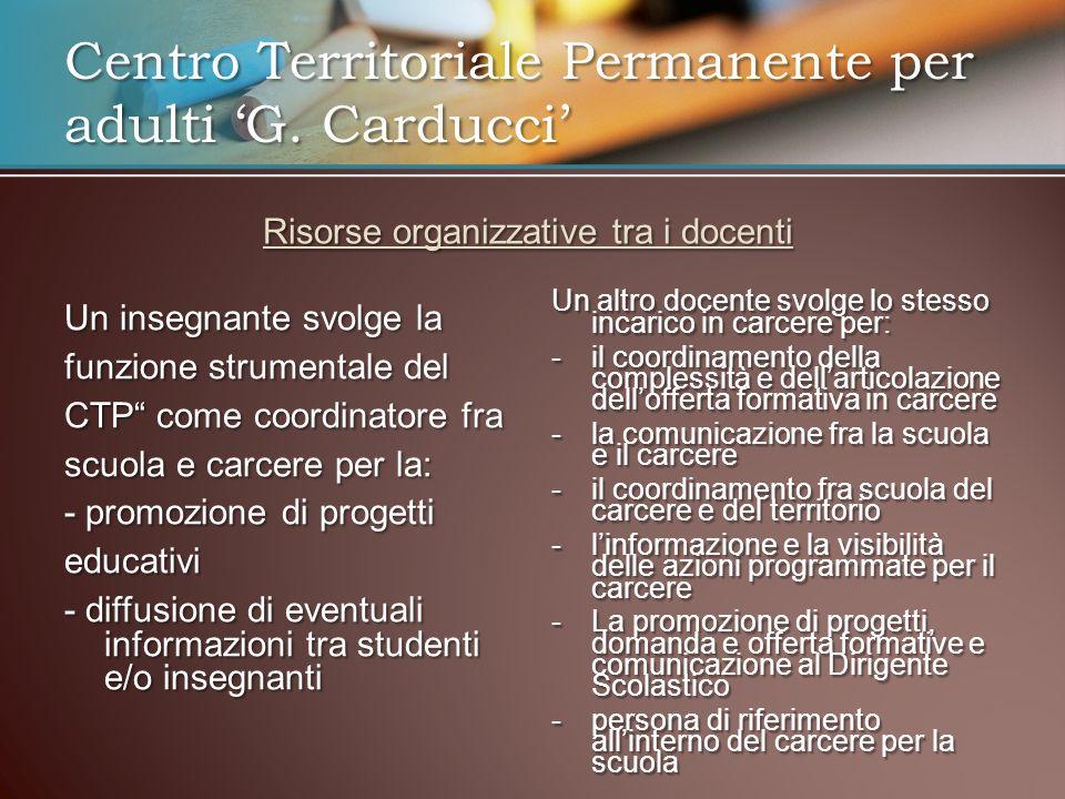 Risorse organizzative tra i docenti Un insegnante svolge la funzione strumentale del CTP come coordinatore fra scuola e carcere per la: - promozione d