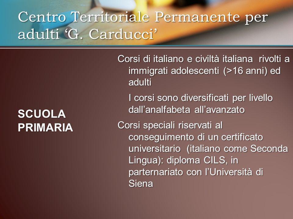 Corsi di italiano e civiltà italiana rivolti a immigrati adolescenti (>16 anni) ed adulti I corsi sono diversificati per livello dallanalfabeta allava