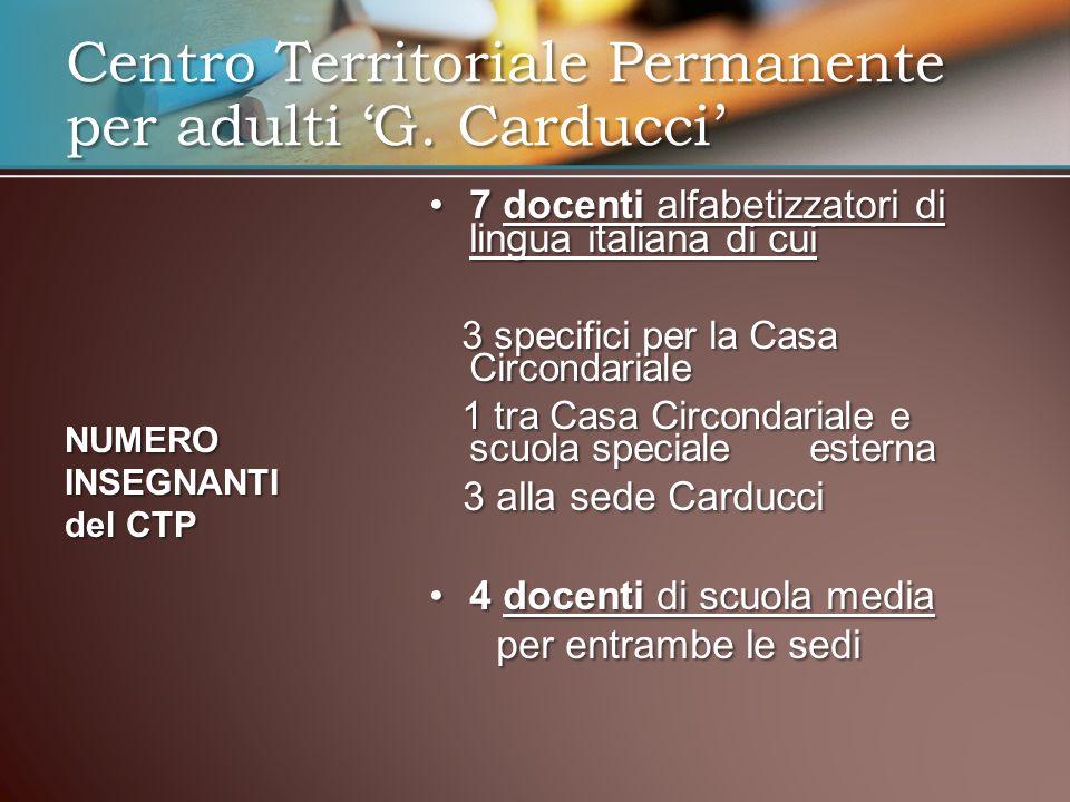 7 docenti alfabetizzatori di lingua italiana di cui7 docenti alfabetizzatori di lingua italiana di cui 3 specifici per la Casa Circondariale 3 specifi