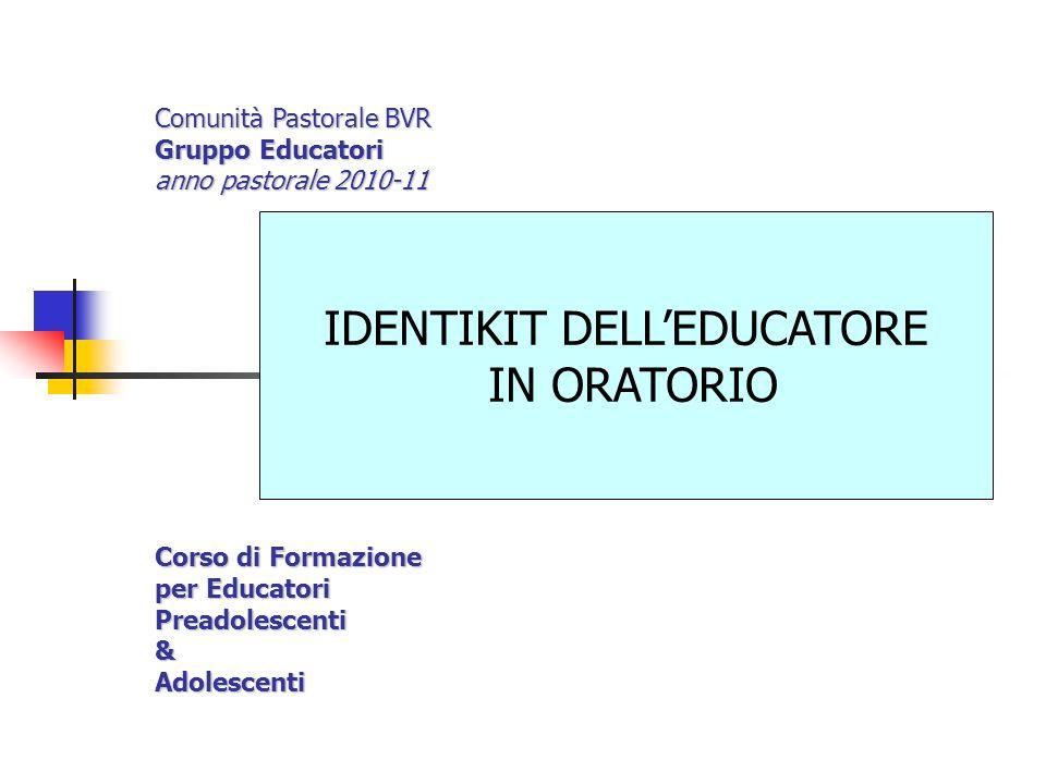 EDUCATORE IN ORATORIO Educatore è una persona che educa: educare: nutrire, tirar fuori, allevare, portar via (v.