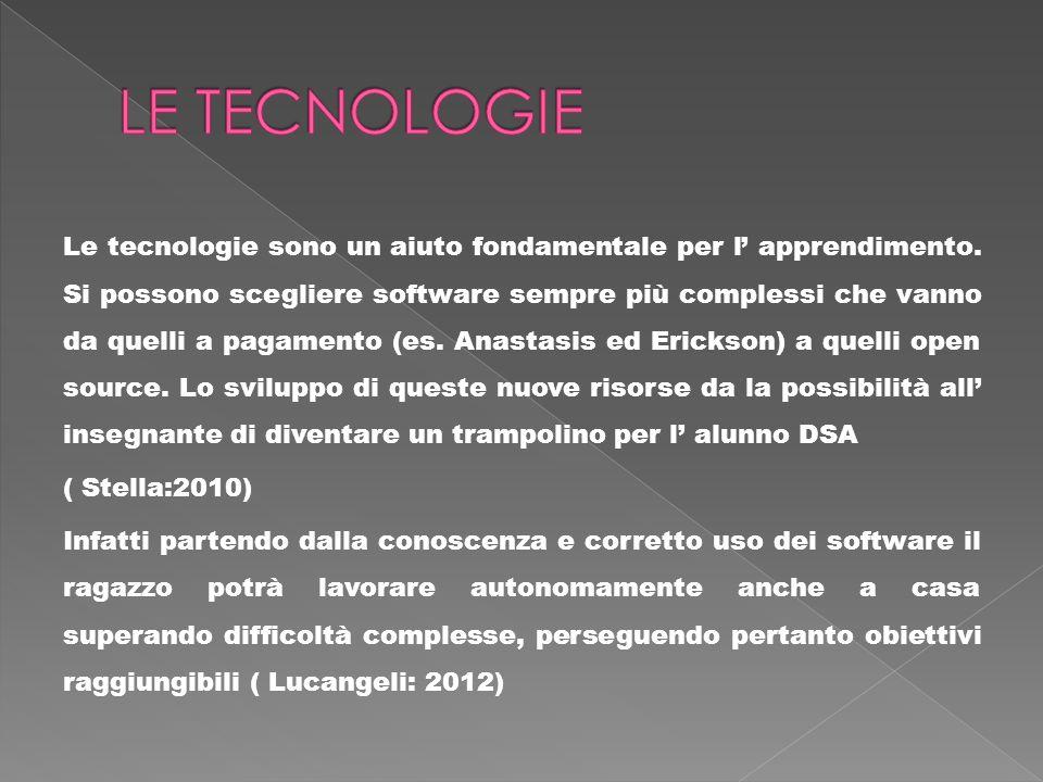 Le tecnologie sono un aiuto fondamentale per l apprendimento. Si possono scegliere software sempre più complessi che vanno da quelli a pagamento (es.