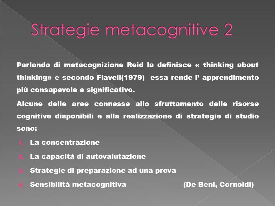 Parlando di metacognizione Reid la definisce « thinking about thinking» e secondo Flavell(1979) essa rende l apprendimento più consapevole e significa