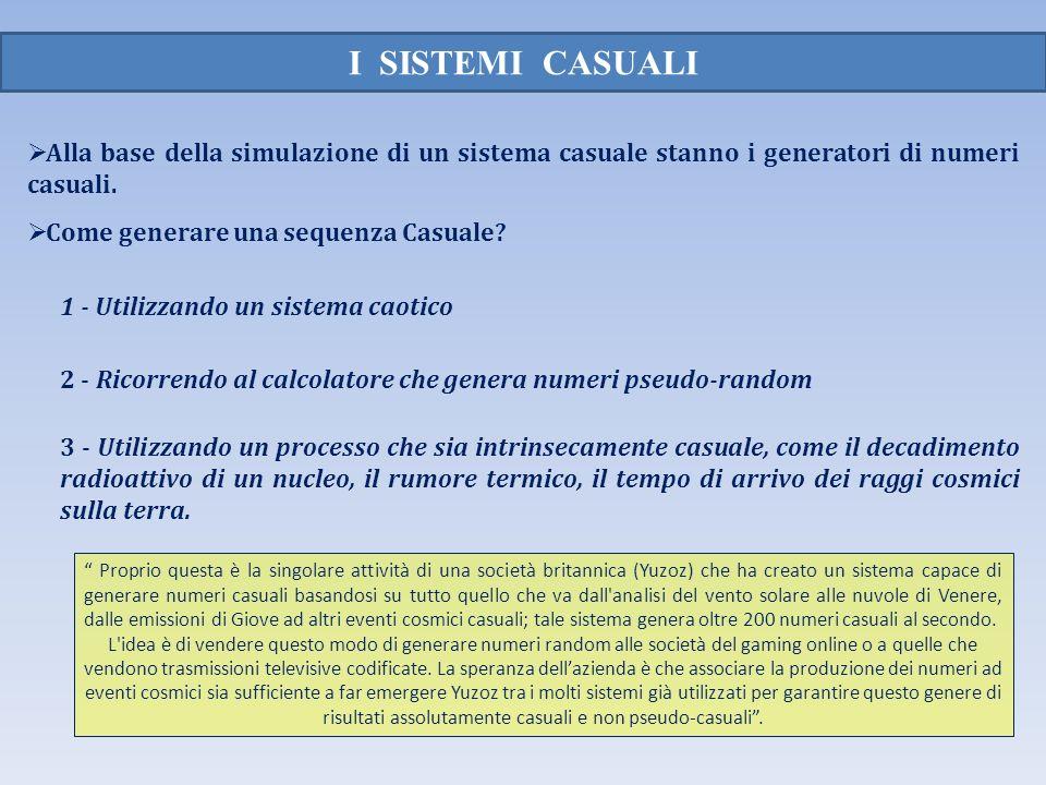 I SISTEMI CASUALI Alla base della simulazione di un sistema casuale stanno i generatori di numeri casuali. Come generare una sequenza Casuale? 3 - Uti