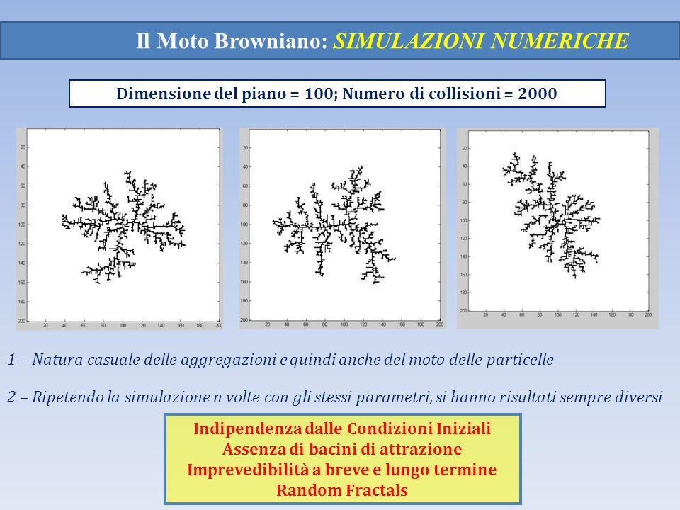 Il Moto Browniano: SIMULAZIONI NUMERICHE Dimensione del piano = 100; Numero di collisioni = 2000 1 – Natura casuale delle aggregazioni e quindi anche