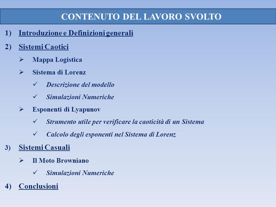 CONTENUTO DEL LAVORO SVOLTO 1) Introduzione e Definizioni generali 2)Sistemi Caotici Mappa Logistica Sistema di Lorenz Descrizione del modello Simulaz