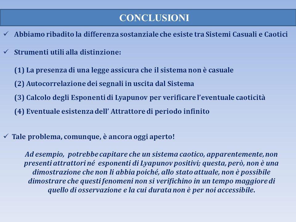 Abbiamo ribadito la differenza sostanziale che esiste tra Sistemi Casuali e Caotici Strumenti utili alla distinzione: (1) La presenza di una legge ass