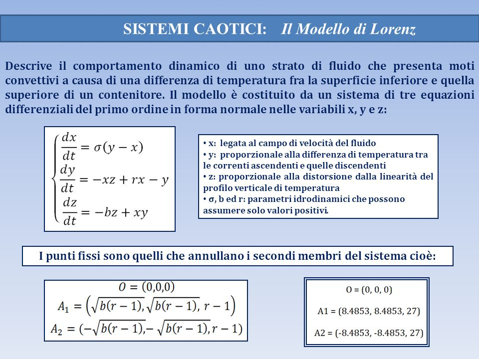 SISTEMI CAOTICI: Il Modello di Lorenz Descrive il comportamento dinamico di uno strato di fluido che presenta moti convettivi a causa di una differenz