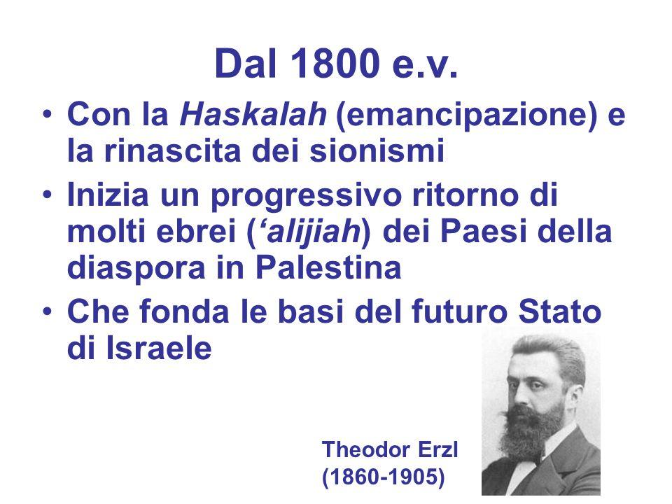 Dal 1800 e.v. Con la Haskalah (emancipazione) e la rinascita dei sionismi Inizia un progressivo ritorno di molti ebrei (alijiah) dei Paesi della diasp