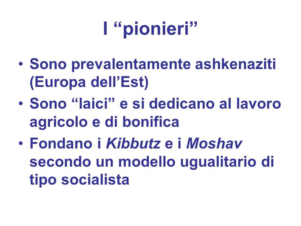 I pionieri Sono prevalentamente ashkenaziti (Europa dellEst) Sono laici e si dedicano al lavoro agricolo e di bonifica Fondano i Kibbutz e i Moshav se
