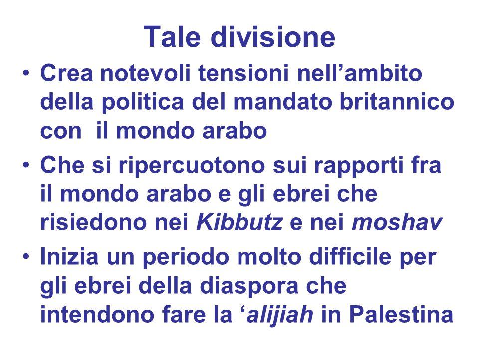 Tale divisione Crea notevoli tensioni nellambito della politica del mandato britannico con il mondo arabo Che si ripercuotono sui rapporti fra il mond