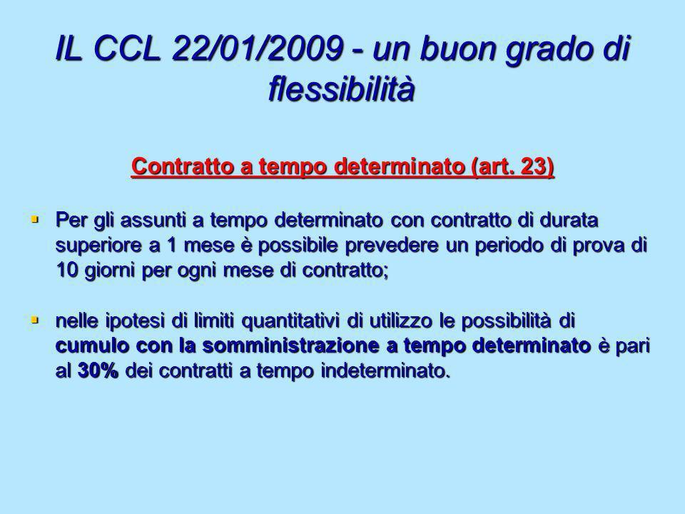 IL CCL 22/01/2009 - un buon grado di flessibilità Contratto a tempo determinato (art. 23) Per gli assunti a tempo determinato con contratto di durata