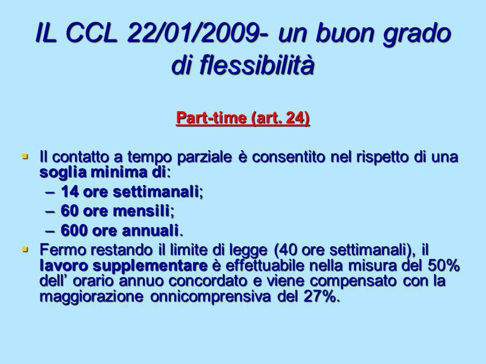 IL CCL 22/01/2009- un buon grado di flessibilità Part-time (art. 24) Il contatto a tempo parziale è consentito nel rispetto di una soglia minima di: I