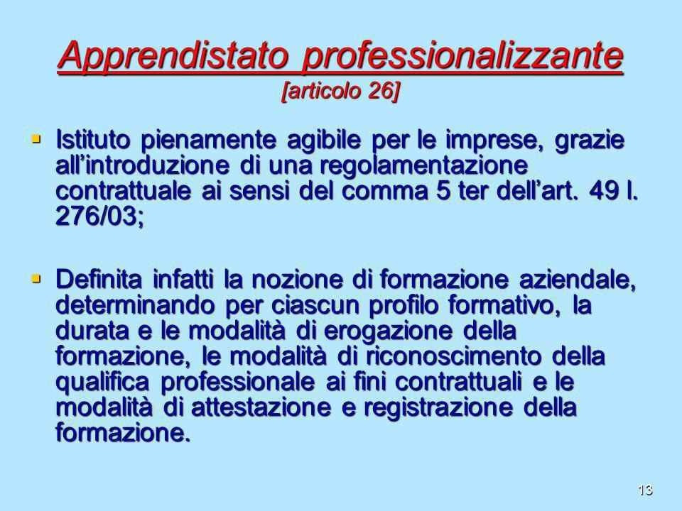13 Apprendistato professionalizzante [articolo 26] Istituto pienamente agibile per le imprese, grazie allintroduzione di una regolamentazione contratt