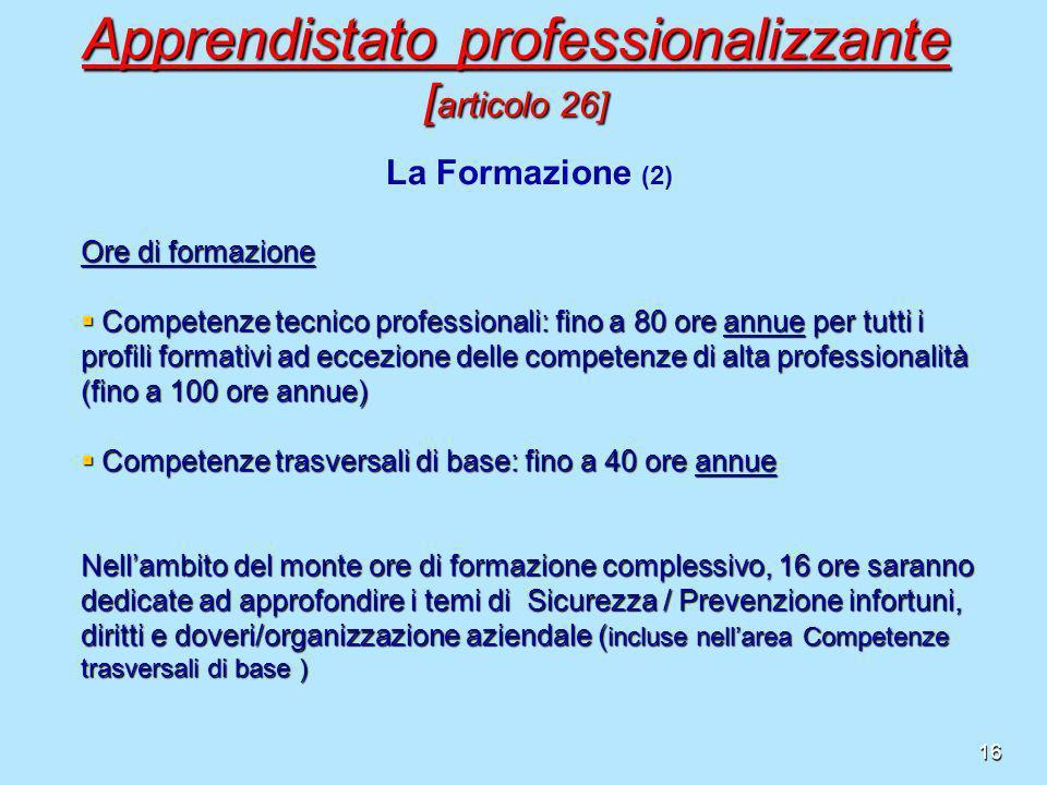 16 Ore di formazione Competenze tecnico professionali: fino a 80 ore annue per tutti i profili formativi ad eccezione delle competenze di alta profess