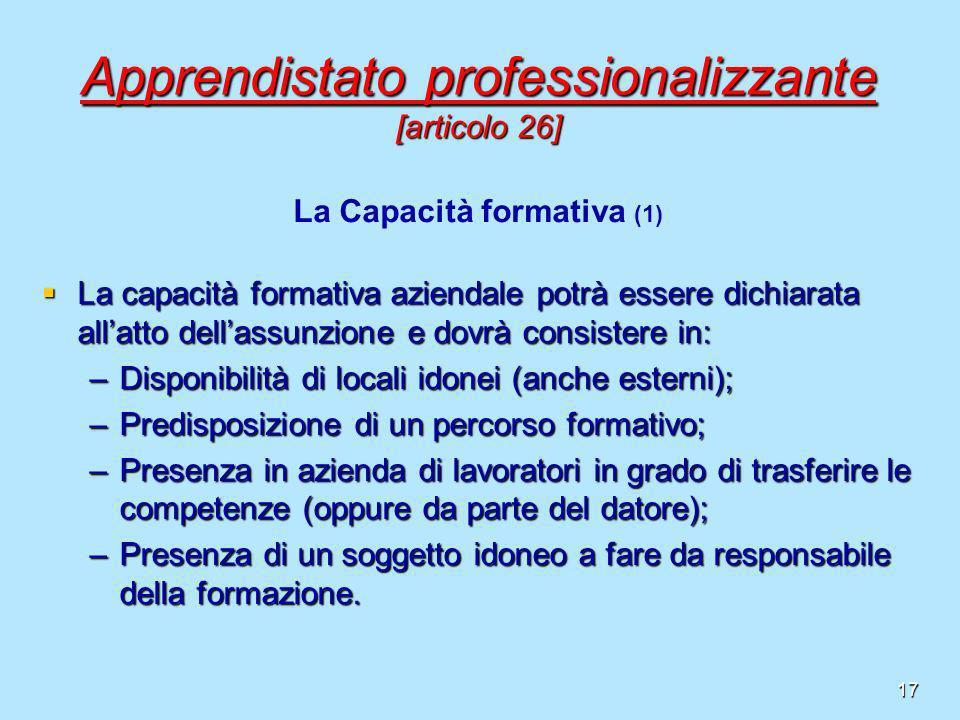 17 Apprendistato professionalizzante [articolo 26] La capacità formativa aziendale potrà essere dichiarata allatto dellassunzione e dovrà consistere i