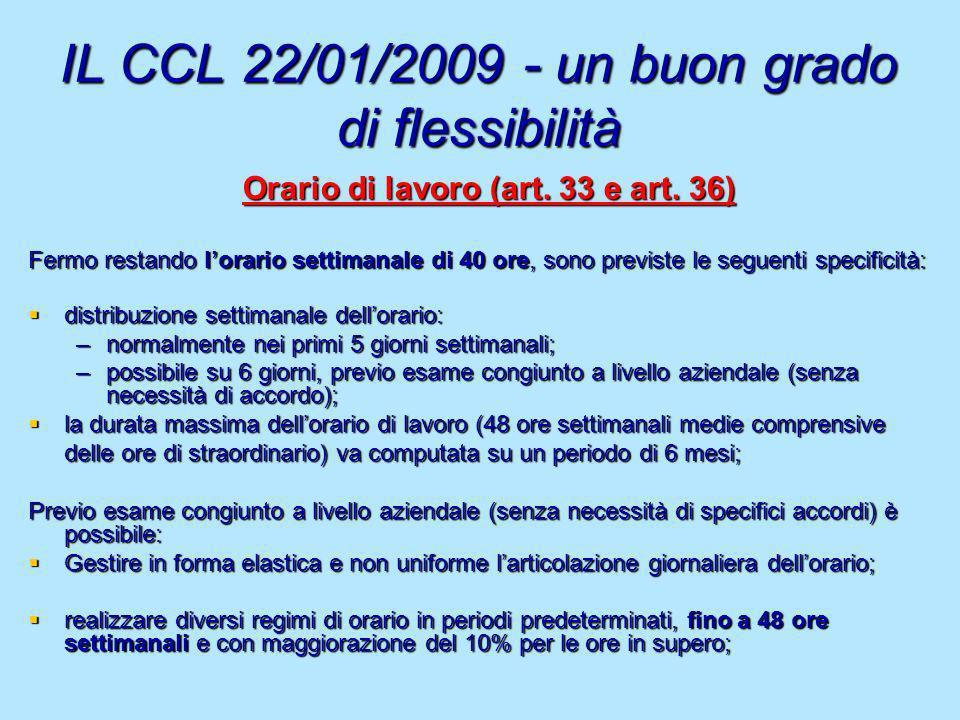 IL CCL 22/01/2009 - un buon grado di flessibilità Orario di lavoro (art. 33 e art. 36) Fermo restando lorario settimanale di 40 ore, sono previste le