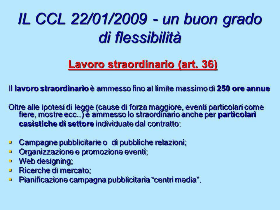 IL CCL 22/01/2009 - un buon grado di flessibilità Lavoro straordinario (art. 36) Il lavoro straordinario è ammesso fino al limite massimo di 250 ore a