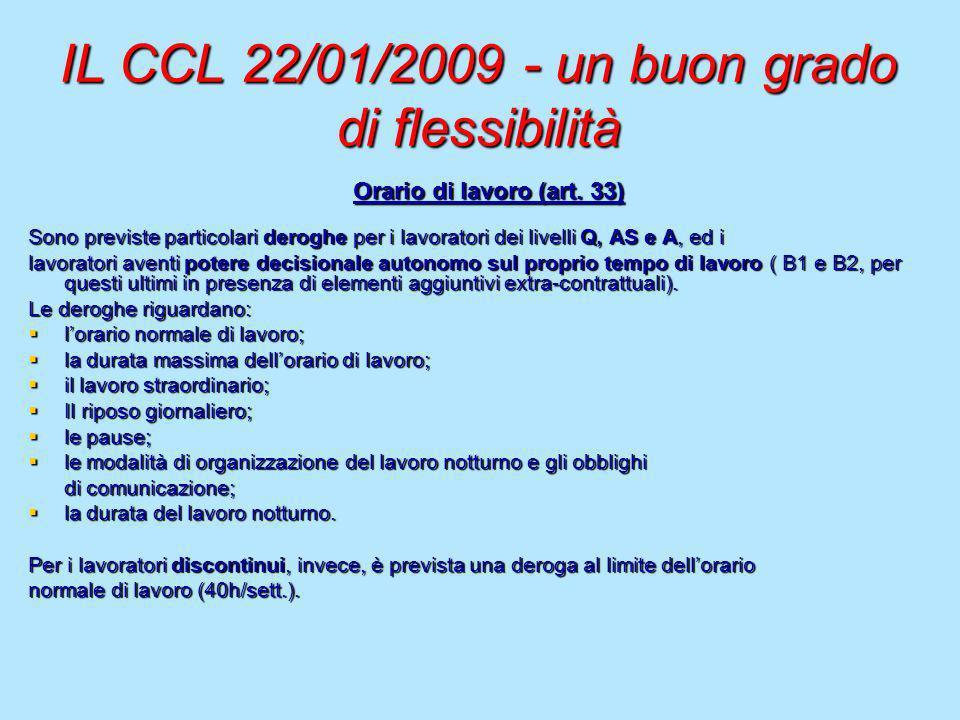 IL CCL 22/01/2009 - un buon grado di flessibilità Orario di lavoro (art. 33) Sono previste particolari deroghe per i lavoratori dei livelli Q, AS e A,