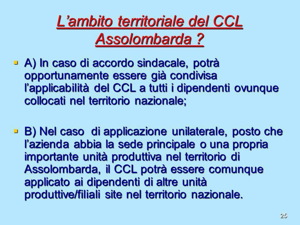 25 Lambito territoriale del CCL Assolombarda ? A) In caso di accordo sindacale, potrà opportunamente essere già condivisa lapplicabilità del CCL a tut