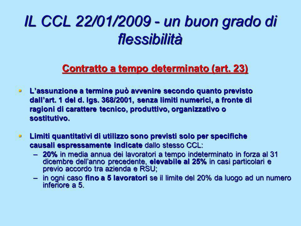 IL CCL 22/01/2009 - un buon grado di flessibilità Contratto a tempo determinato (art. 23) Lassunzione a termine può avvenire secondo quanto previsto L