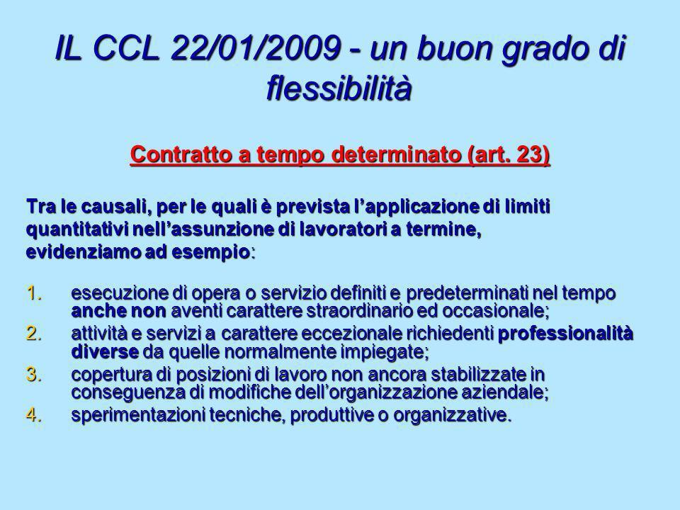 IL CCL 22/01/2009 - un buon grado di flessibilità Contratto a tempo determinato (art. 23) Tra le causali, per le quali è prevista lapplicazione di lim