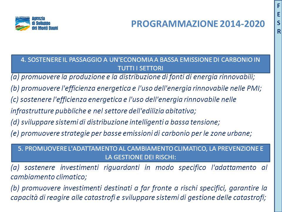 (a) promuovere la produzione e la distribuzione di fonti di energia rinnovabili; (b) promuovere l efficienza energetica e l uso dell energia rinnovabile nelle PMI; (c) sostenere l efficienza energetica e l uso dell energia rinnovabile nelle infrastrutture pubbliche e nel settore dell edilizia abitativa; (d) sviluppare sistemi di distribuzione intelligenti a bassa tensione; (e) promuovere strategie per basse emissioni di carbonio per le zone urbane; (a) sostenere investimenti riguardanti in modo specifico l adattamento al cambiamento climatico; (b) promuovere investimenti destinati a far fronte a rischi specifici, garantire la capacità di reagire alle catastrofi e sviluppare sistemi di gestione delle catastrofi; 5.