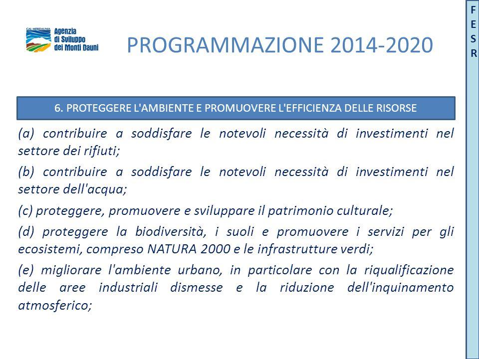 (a) contribuire a soddisfare le notevoli necessità di investimenti nel settore dei rifiuti; (b) contribuire a soddisfare le notevoli necessità di investimenti nel settore dell acqua; (c) proteggere, promuovere e sviluppare il patrimonio culturale; (d) proteggere la biodiversità, i suoli e promuovere i servizi per gli ecosistemi, compreso NATURA 2000 e le infrastrutture verdi; (e) migliorare l ambiente urbano, in particolare con la riqualificazione delle aree industriali dismesse e la riduzione dell inquinamento atmosferico; 6.