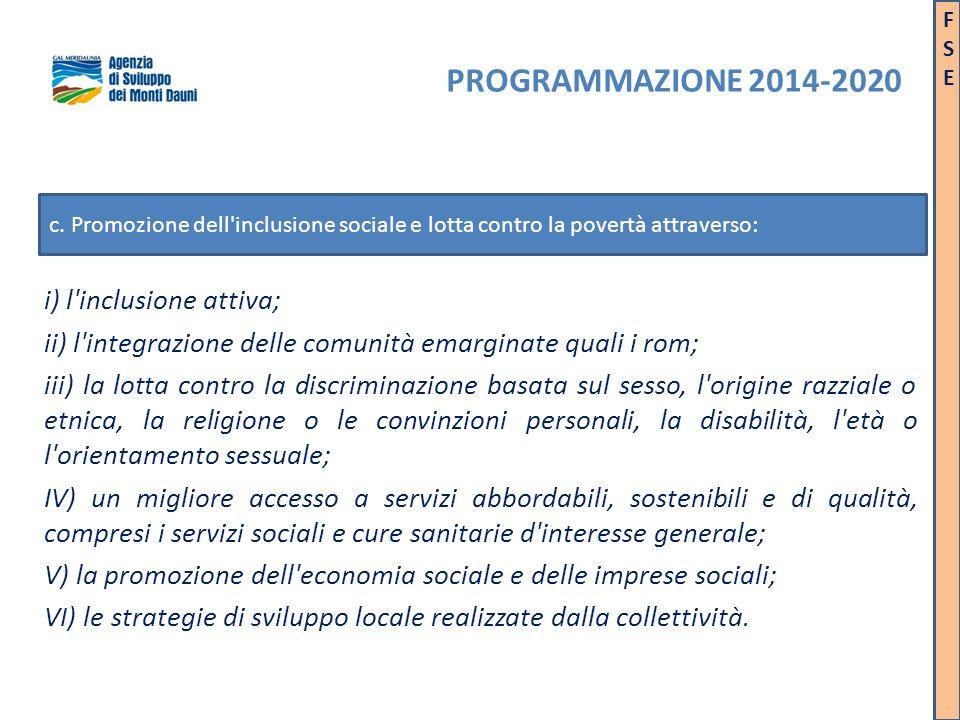i) l'inclusione attiva; ii) l'integrazione delle comunità emarginate quali i rom; iii) la lotta contro la discriminazione basata sul sesso, l'origine
