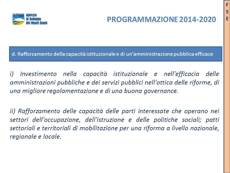 i) Investimento nella capacità istituzionale e nell'efficacia delle amministrazioni pubbliche e dei servizi pubblici nell'ottica delle riforme, di una