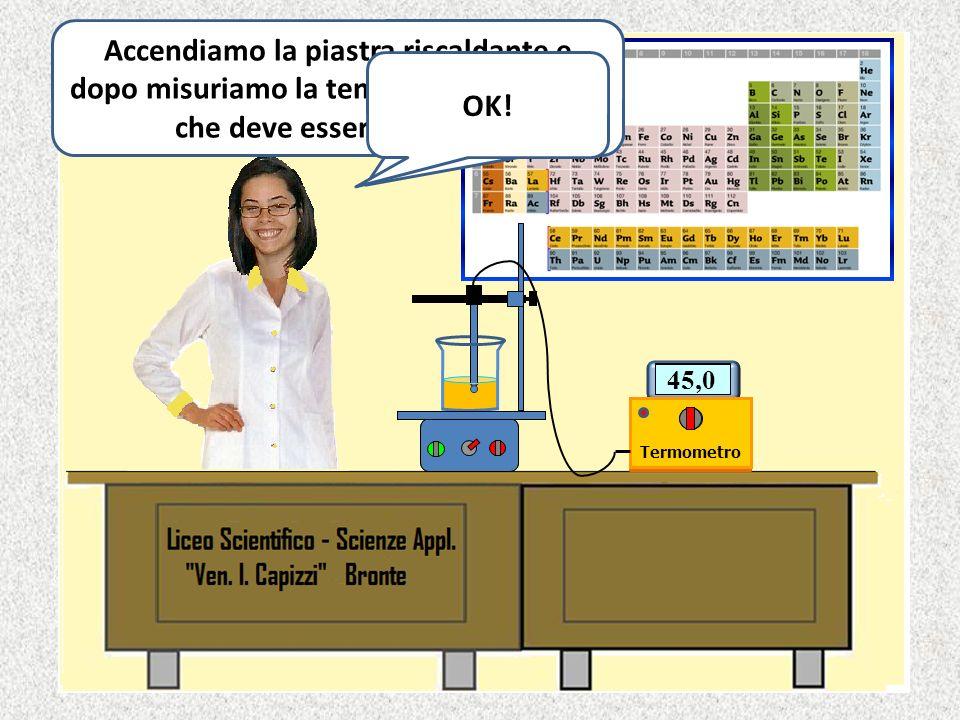 Ciao, sono Angelica di II C. Ora riscaldiamo lolio di oliva a 45 °C.