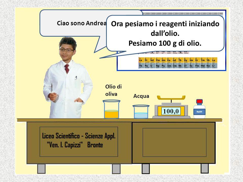 0,0 NaOH 50,280,599,5100,0 Olio di oliva Acqua Ciao sono Andrea di II C.