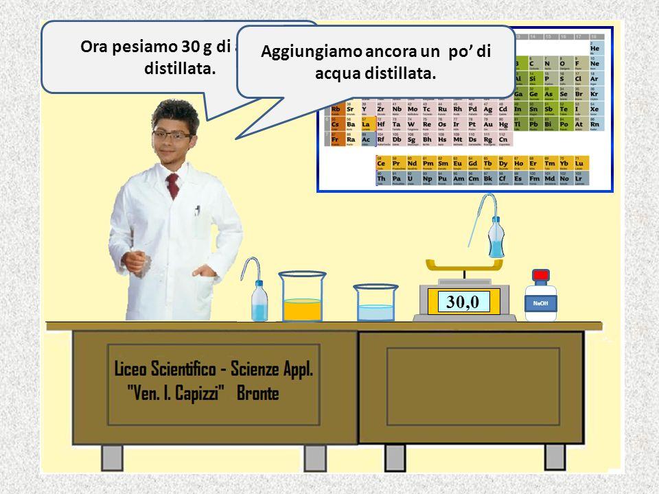 0,0 NaOH 50,280,599,5100,0 Olio di oliva Acqua Ciao sono Andrea di II C. Ora pesiamo i reagenti iniziando dallolio. Pesiamo 100 g di olio.