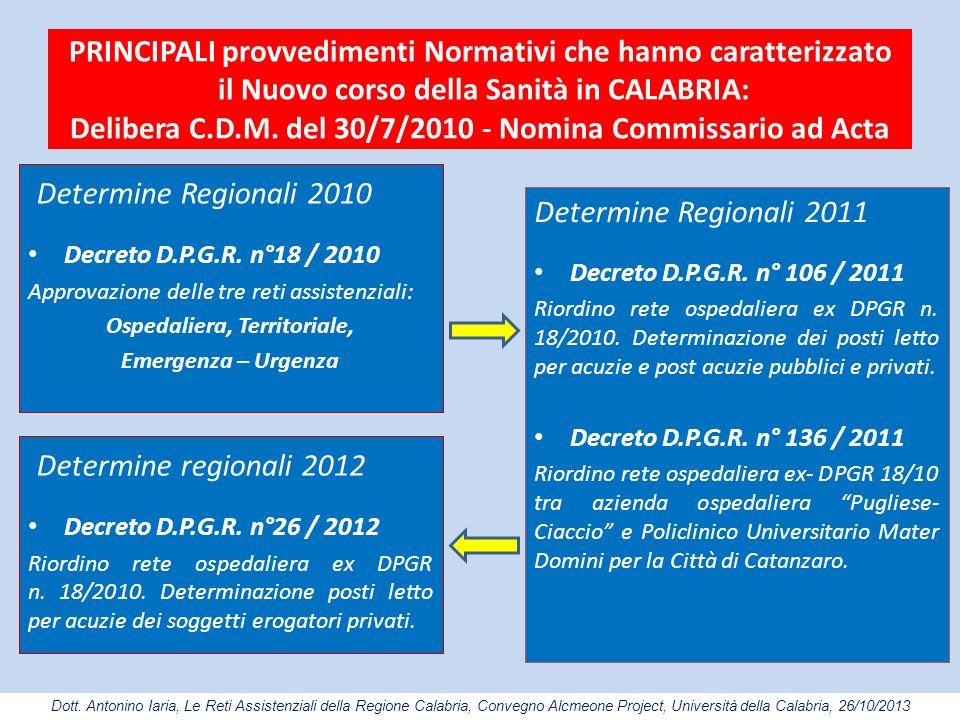 PRINCIPALI provvedimenti Normativi che hanno caratterizzato il Nuovo corso della Sanità in CALABRIA: Delibera C.D.M. del 30/7/2010 - Nomina Commissari