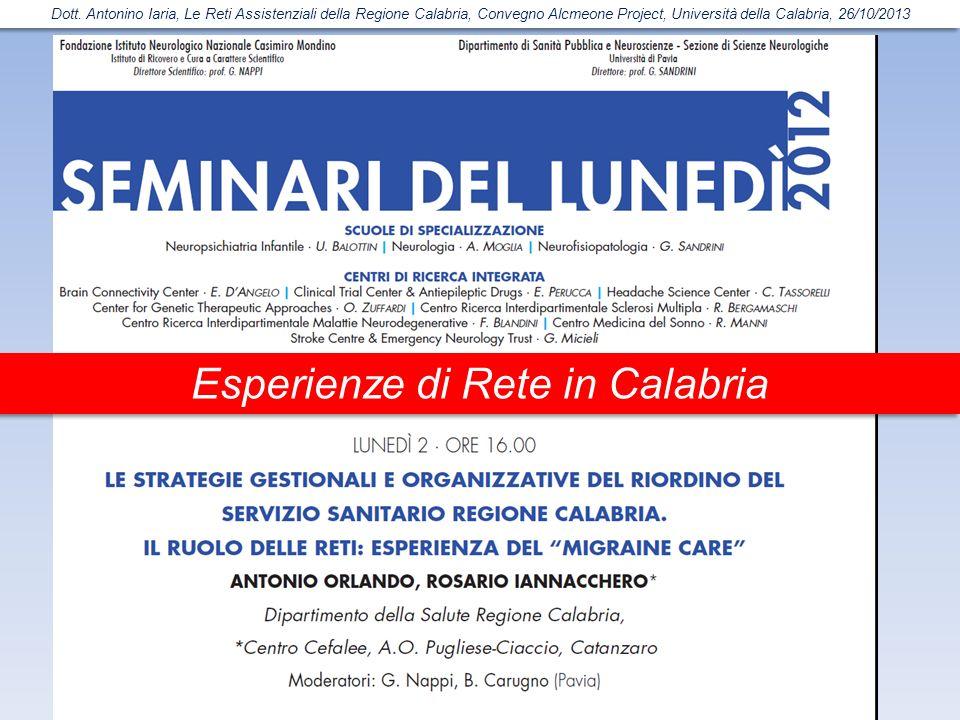 Esperienze di Rete in Calabria Dott. Antonino Iaria, Le Reti Assistenziali della Regione Calabria, Convegno Alcmeone Project, Università della Calabri