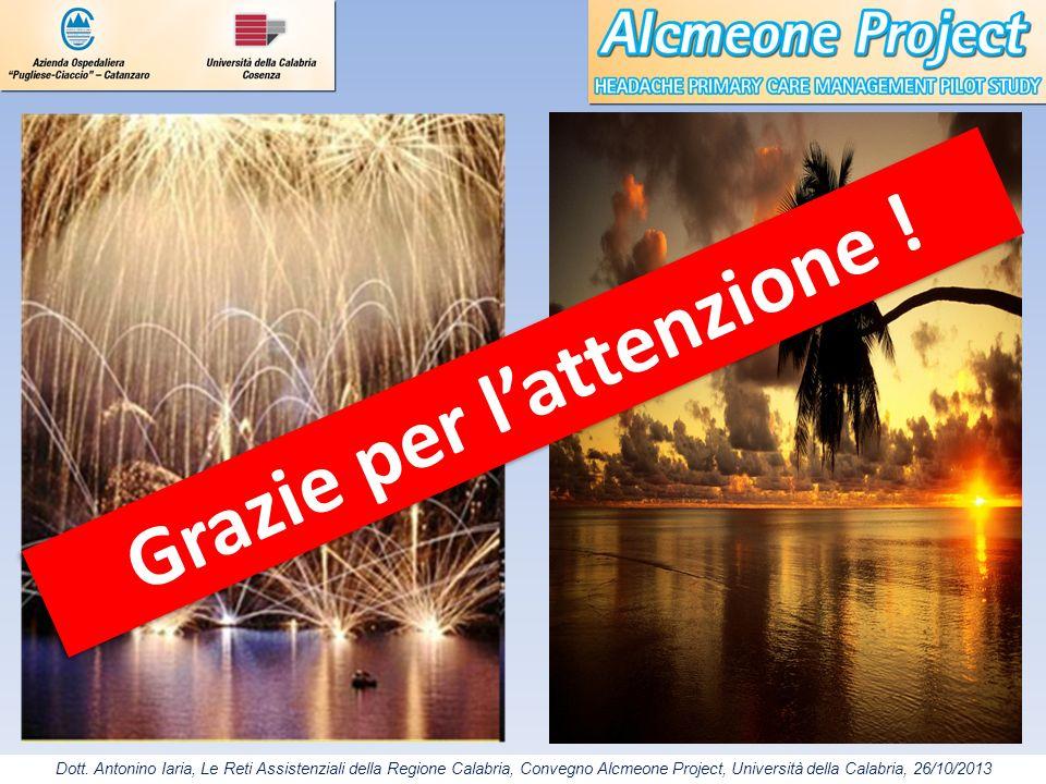 Dott. Antonino Iaria, Le Reti Assistenziali della Regione Calabria, Convegno Alcmeone Project, Università della Calabria, 26/10/2013 Grazie per latten