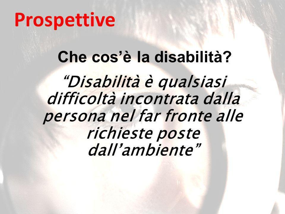 Disabilità è qualsiasi difficoltà incontrata dalla persona nel far fronte alle richieste poste dallambiente Che cosè la disabilità.
