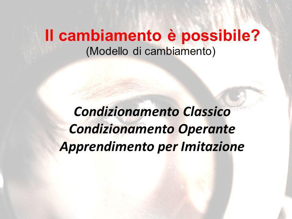 Condizionamento Classico Condizionamento Operante Apprendimento per Imitazione Il cambiamento è possibile.