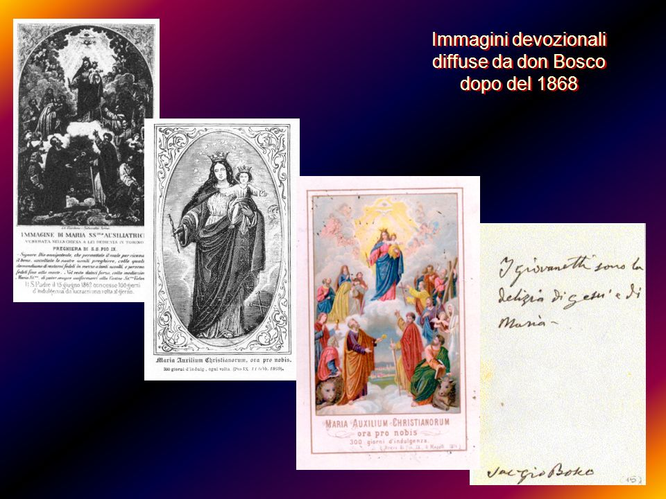 Il cartone delle cinque immagini era nella camera di Don Bosco nel 1849: D.