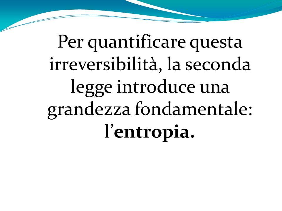 Per quantificare questa irreversibilità, la seconda legge introduce una grandezza fondamentale: lentropia.