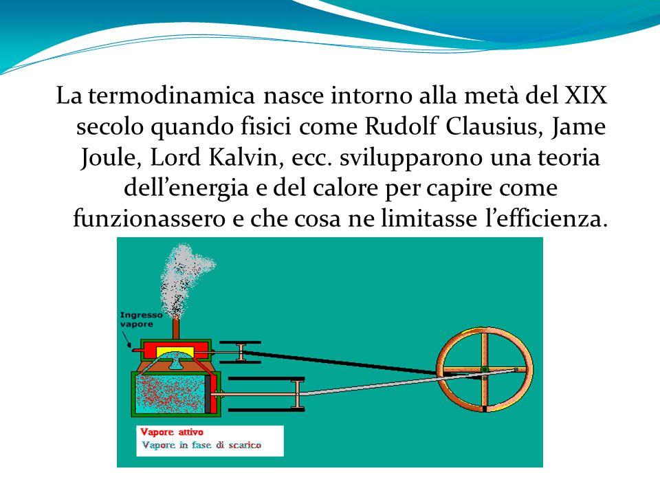 La termodinamica nasce intorno alla metà del XIX secolo quando fisici come Rudolf Clausius, Jame Joule, Lord Kalvin, ecc. svilupparono una teoria dell