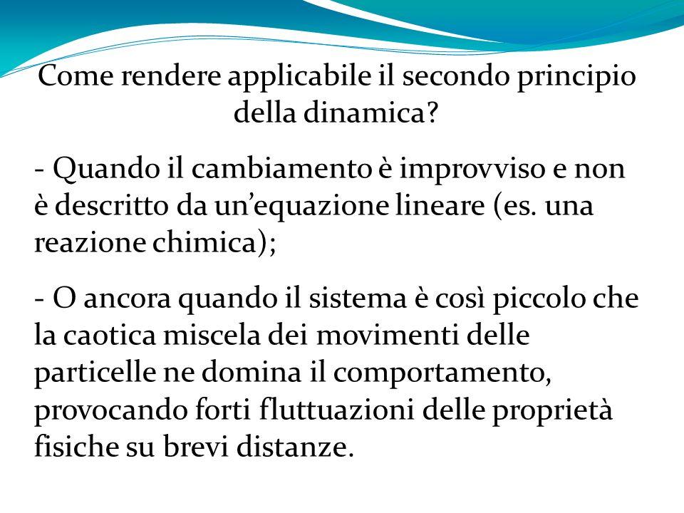 Come rendere applicabile il secondo principio della dinamica? - Quando il cambiamento è improvviso e non è descritto da unequazione lineare (es. una r