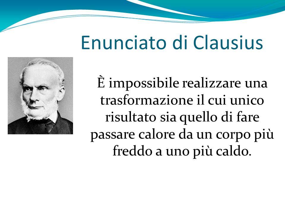 Enunciato di Clausius È impossibile realizzare una trasformazione il cui unico risultato sia quello di fare passare calore da un corpo più freddo a un