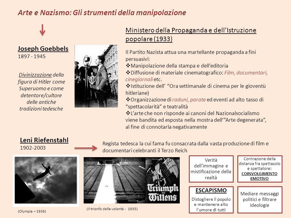 Arte e Nazismo: Gli strumenti della manipolazione Joseph Goebbels 1897 - 1945 Divinizzazione della figura di Hitler come Superuomo e come detentore/cu