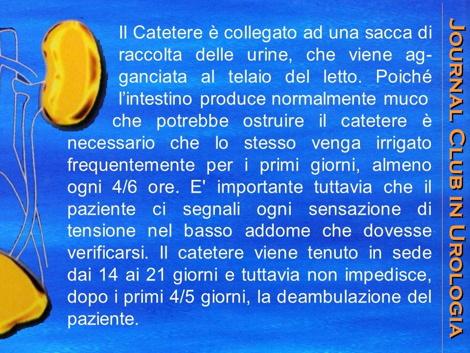 Journal Club in Urologia Il Catetere è collegato ad una sacca di raccolta delle urine, che viene ag- ganciata al telaio del letto.