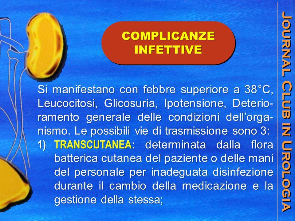 Journal Club in Urologia COMPLICANZE INFETTIVE Si manifestano con febbre superiore a 38°C, Leucocitosi, Glicosuria, Ipotensione, Deterio- ramento generale delle condizioni dellorga- nismo.