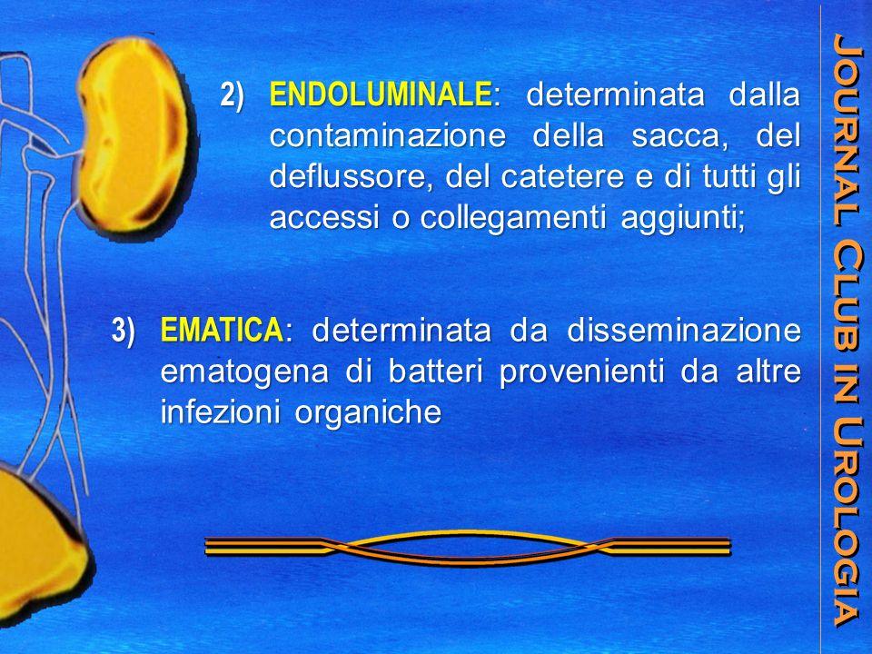 Journal Club in Urologia 2) ENDOLUMINALE : determinata dalla contaminazione della sacca, del deflussore, del catetere e di tutti gli accessi o collegamenti aggiunti; 3) EMATICA : determinata da disseminazione ematogena di batteri provenienti da altre infezioni organiche