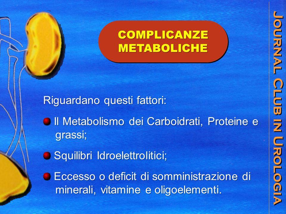 Journal Club in Urologia COMPLICANZE METABOLICHE Riguardano questi fattori: Il Metabolismo dei Carboidrati, Proteine e Il Metabolismo dei Carboidrati, Proteine e grassi; grassi; Squilibri Idroelettrolitici; Squilibri Idroelettrolitici; Eccesso o deficit di somministrazione di Eccesso o deficit di somministrazione di minerali, vitamine e oligoelementi.