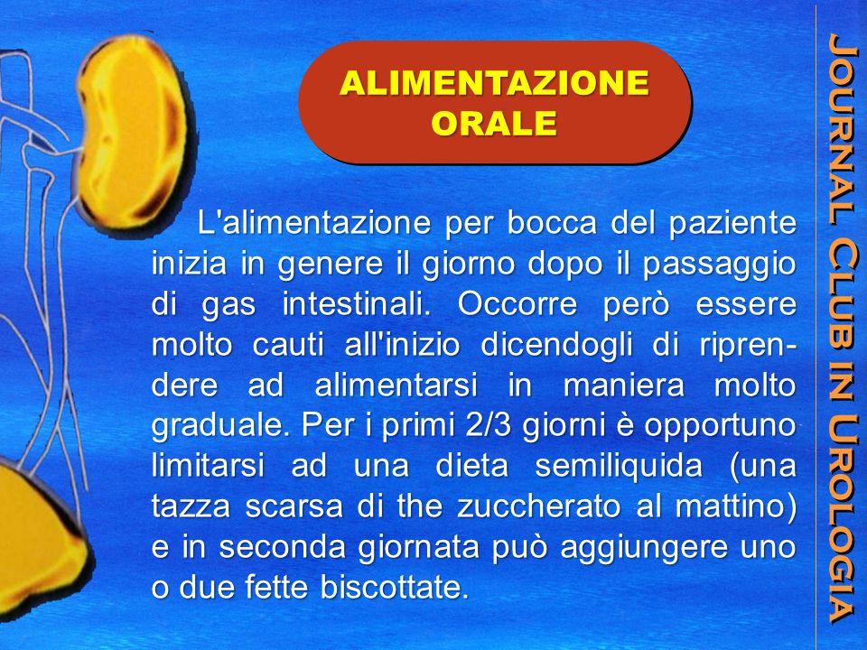 Journal Club in Urologia ALIMENTAZIONE ORALE L alimentazione per bocca del paziente inizia in genere il giorno dopo il passaggio di gas intestinali.