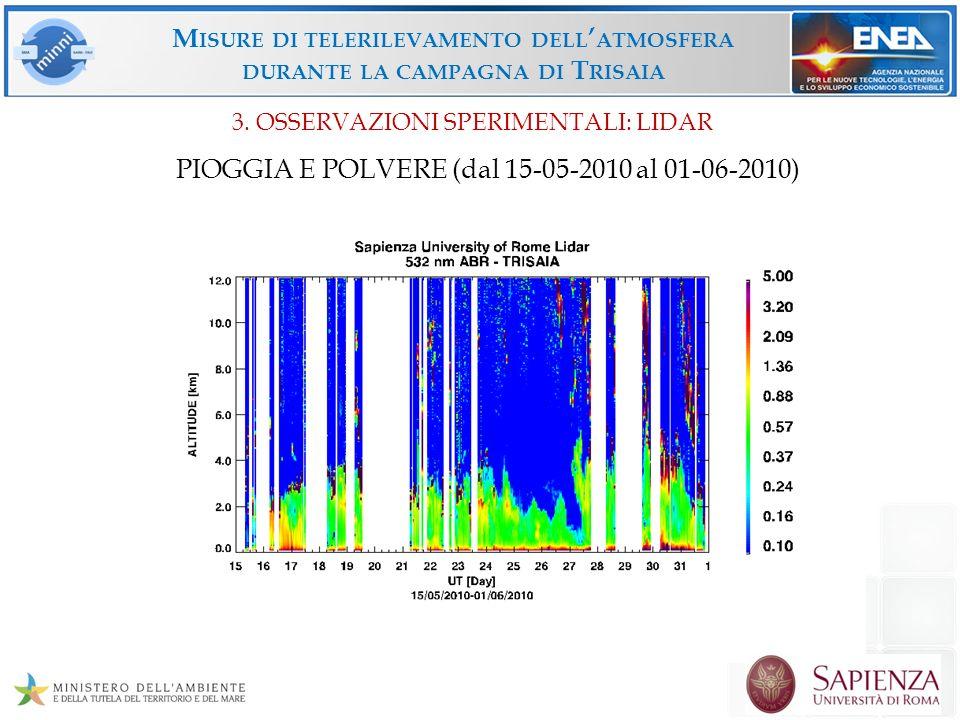 M ISURE DI TELERILEVAMENTO DELL ATMOSFERA DURANTE LA CAMPAGNA DI T RISAIA PIOGGIA E POLVERE (dal 15-05-2010 al 01-06-2010) 3. OSSERVAZIONI SPERIMENTAL