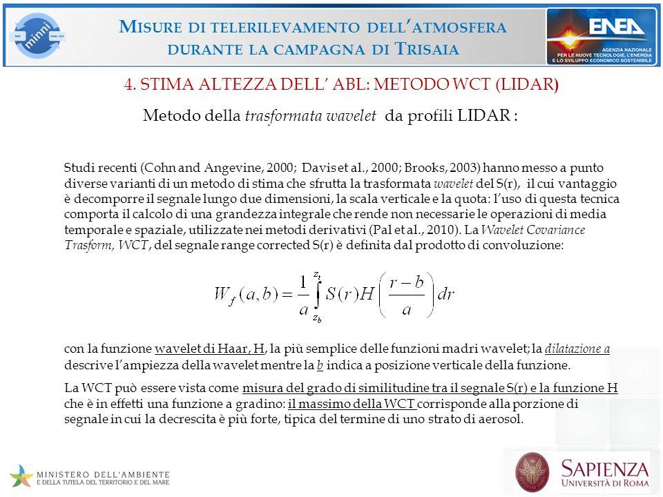 M ISURE DI TELERILEVAMENTO DELL ATMOSFERA DURANTE LA CAMPAGNA DI T RISAIA 4. STIMA ALTEZZA DELL ABL: METODO WCT (LIDAR ) Metodo della trasformata wave